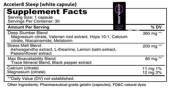ACCELER8 SLEEP white capsules