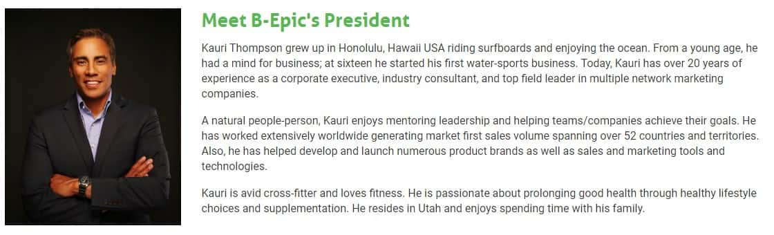 President of B-Epic is Kauri Thompson,Company contacts