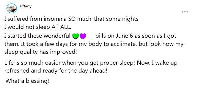 Tiffany about supplements of B-Epic to get rid of insomnia