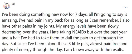 Ed writes about the use of 3 pills of B-Epic with joint pain