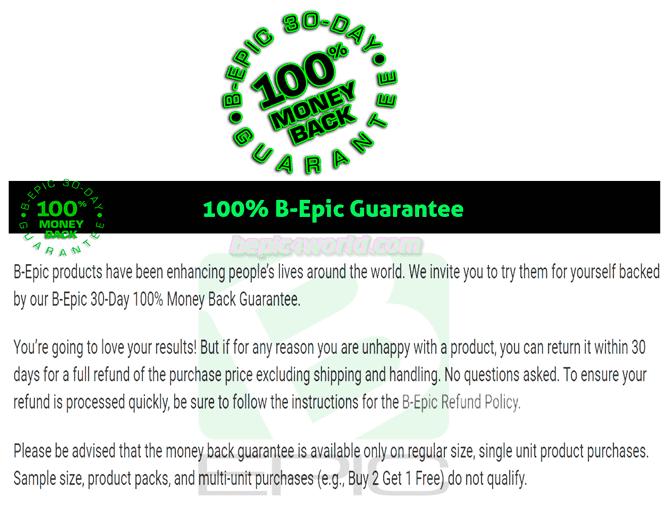 B-Epic Guarantee Return Policy