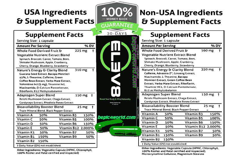 Elev8 Supplement Facts ingredients of Elev8 BEpic