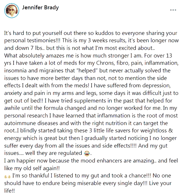 Jennifer says about the use of 3 pills of B-Epic