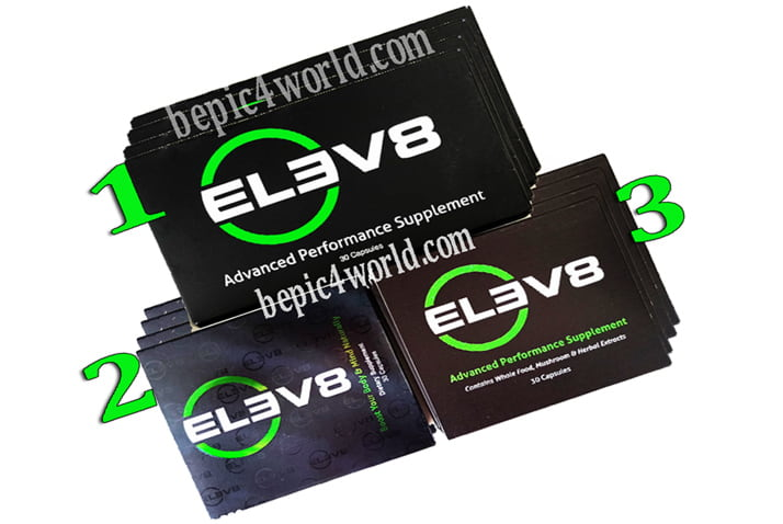 Three types of BEpics Elev8 pills boxes