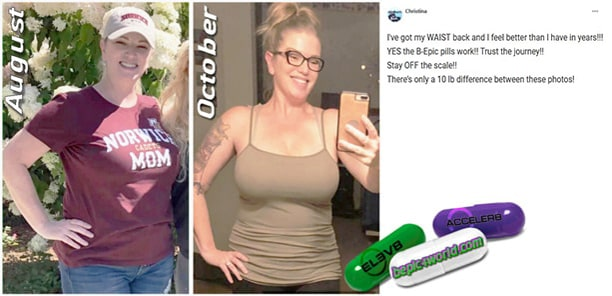 Christina writes about using pills of B-Epic to get weight loss