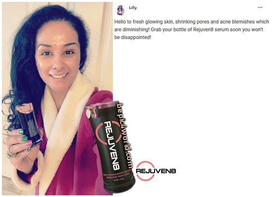 Lilly writes about REJUVEN8 serum of B-Epic