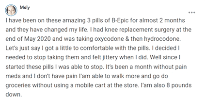 Mely writes about using 3 pills of B-Epic