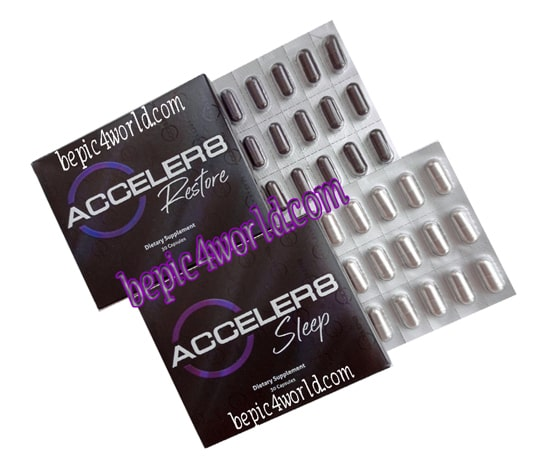 B-Epic box ACCELER8 SLLEP (white capsules) and box ACCELER8 RESTORE (purple capsules)