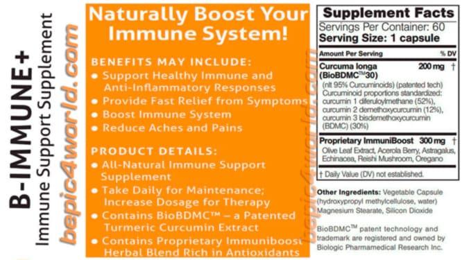 Ingredients B-Immune plus