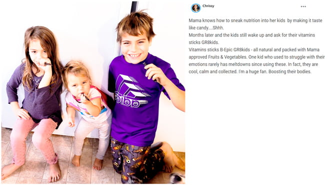 Chrissy writes about using Gr8 Kids product of B-Epic