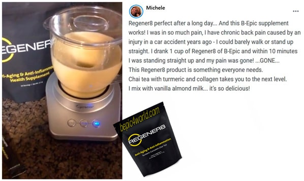 Michele writes about using Regener8 by B-Epic