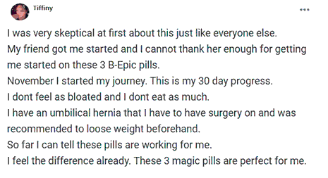Tiffiny writes about using 3 pills of B-Epic