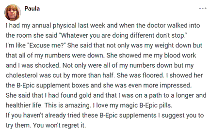 Paula writes about B-Epic pills