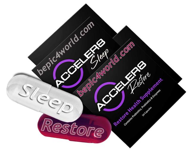 Acceler8 pills Restore & Sleep benefits