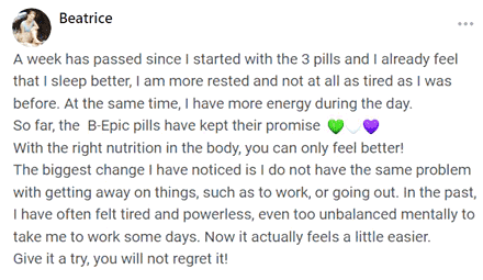 Beatrice writes about 3 pills of B-Epic