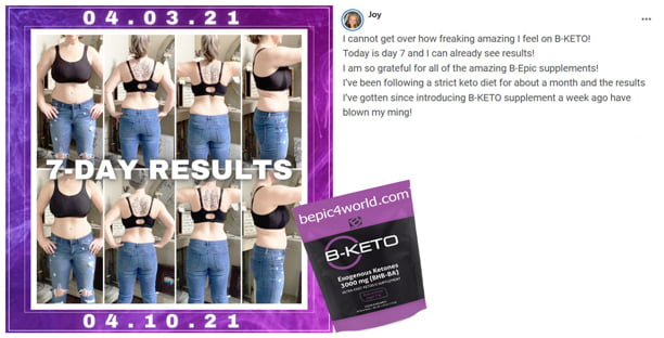Joy about B-KETO supplement by B-Epic