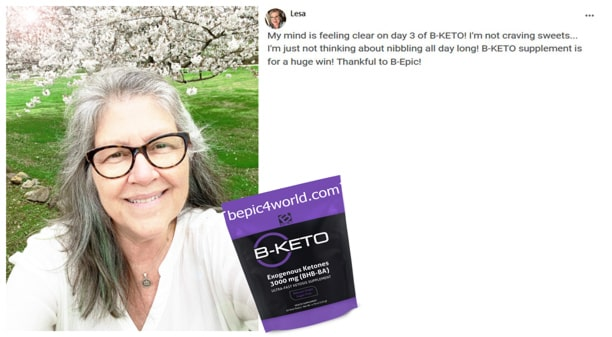 Lesa about B-KETO supplement by B-Epic