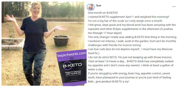 Sue review about B-KETO supplement by B-Epic