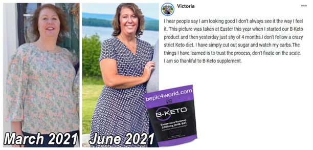 Victoria about B-KETO supplement by B-Epic