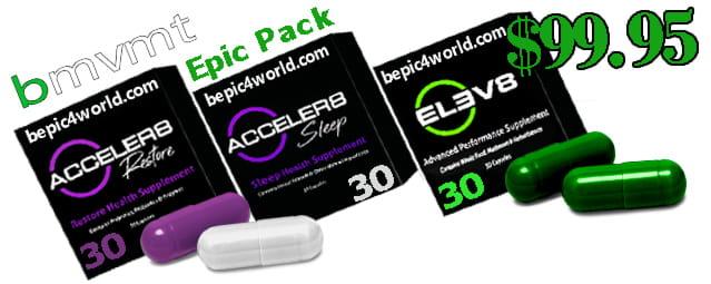 Customer Price BMvmt Epic pack includes ELEV8 30 capsules ACCELER8 30 RESTORE capsules 30 SLEEP capsules