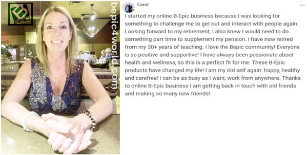 Review of Carol about the benefits of online B-Epic business