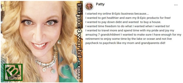 Review of Patty about the benefits of online BEpic business